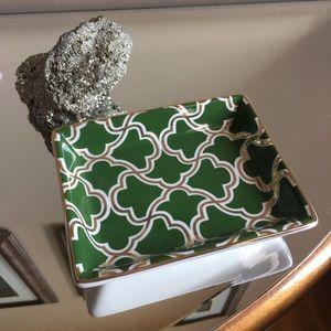 Green and Gold Ceramic Dish